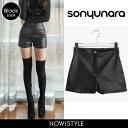 SONYUNARA(ソニョナラ)PARTY BLACK/レザーショートパンツ【12/14up_go】...