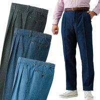 ストレッチパンツ メンズ ■送料無料・代引料無料■【行動派のためのデニムパンツ 同サイズ3色組】 メンズパンツ 快適パンツ 2タック 後ろゴム 裾上げ済み