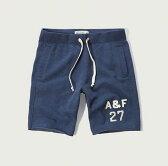 ◆【期間限定値下げ中】【送料無料】【新品】アバクロ【Mensメンズ】スエットショーツ/Blue【Applique Logo Fleece Shorts】【Abercrombie&Fitch】【本物保証】【あす楽対応】