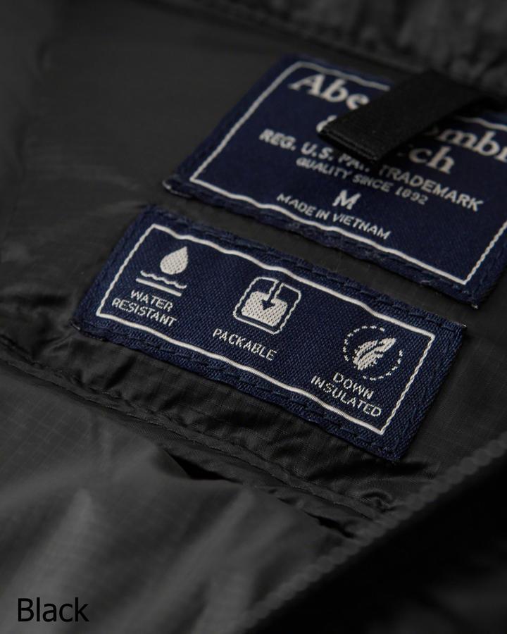 ◆【新品】アバクロ【Mensメンズ】ライトウェイトダウンジャケット/Black【Lightweight Down-Filled Packable Puffer】【Abercrombie&Fitch】【本物保証】