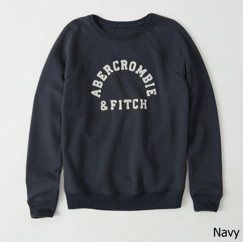 【新品】アバクロ【Womens】長袖ラグランスエット/Navy【Logo Graphic Crew Sweatshirt】【Abercrombie&Fitch】【本物保証】【楽天スーパーセール期間限定 2品で20%OFFクーポン配布中】