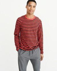 【新品】アバクロ【Mensメンズ】サンフェードボーダーTシャツ(ロンT)/RedStripe【SunfadedCrewTee】【Abercrombie&Fitch】【本物保証】