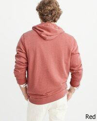 【新品】アバクロ【Mensメンズ】Moose刺繍フルジップパーカー/Red【BurnoutIconFull-ZipHoodie】【Abercrombie&Fitch】【本物保証】