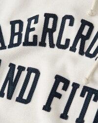 【新品】アバクロ【Mensメンズ】アップリケラグランプルオーバーパーカー/Off-WhiteWithNavyBlue【GraphicPopoverHoodie】【Abercrombie&Fitch】【本物保証】