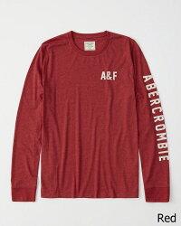 【新品】アバクロ【Mensメンズ】アップリケ長袖Tシャツ(ロンT)/Red【Long-SleeveLogoTee】【Abercrombie&Fitch】【本物保証】