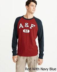 【新品】アバクロ【Mensメンズ】アップリケ長袖Tシャツ(ロンT)/RedWithNavyBlue【AppliqueLogoRaglanTee】【Abercrombie&Fitch】【本物保証】