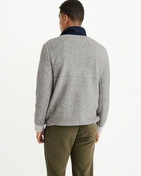【新品】アバクロ【Mensメンズ】ハーフジップフリースジャケット/Grey【SherpaHalf-ZipSweatshirt】【Abercrombie&Fitch】【本物保証】