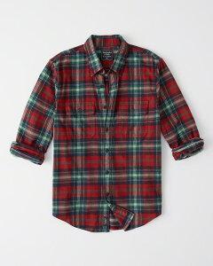 Abercrombie&Fitch (アバクロンビー&フィッチ) フランネルシャツ (ネルシャツ) (Flannel Shirt) メンズ (Red And Green Plaid) 新品