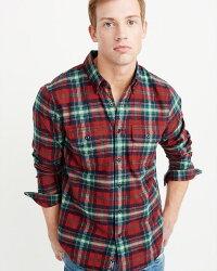 【新品】アバクロ【Mensメンズ】フランネルシャツ(ネルシャツ)/RedAndGreenPlaid【FlannelShirt】【Abercrombie&Fitch】【本物保証】