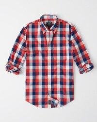 【新品】【日本未発売】アバクロ【Mensメンズ】ストレッチボタンダウンチェックシャツ(長袖)/RedAndNavyBluePlaid【CheckPoplinShirt】【Abercrombie&Fitch】【本物保証】