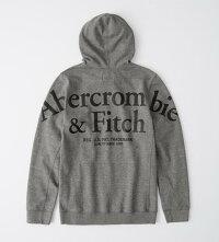 【新品】アバクロ【Mensメンズ】バックロゴグラフィックプルオーバーパーカー/HeatherGrey【BackLogoHoodie】【Abercrombie&Fitch】【本物保証】