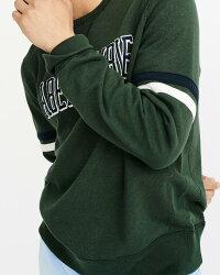 【新品】アバクロ【Mensメンズ】ロゴアップリケスエット/Green【LogoCrewneckSweatshirt】【Abercrombie&Fitch】【本物保証】