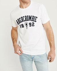 【新品】アバクロ【Mensメンズ】ロゴアップリケグラフィックTシャツ(半袖)/White【AppliqueLogoTee】【GraphicTees】【Abercrombie&Fitch】【本物保証】