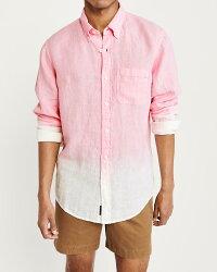 【新品】【日本未発売】アバクロ【Mensメンズ】ボタンダウンリネンシャツ(長袖)/Pink【LinenShirt】【SignatureFit】【Abercrombie&Fitch】【本物保証】