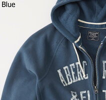 【新品】アバクロ【Mensメンズ】Wジップアップリケフルジップパーカー/Blue【HeritageLogoFleeceZip-Up】【Abercrombie&Fitch】【本物保証】