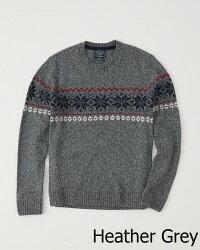 【新品】アバクロ【Mensメンズ】フェアアイルニット(セーター)/HeatherGrey【FairIsleSweater】【Abercrombie&Fitch】【本物保証】