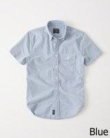 【送料無料】【新品】アバクロ【Mensメンズ】半袖ボタンダウンシャツ/Blue【ShortSleeveOxfordShirt】【Abercrombie&Fitch】【本物保証】