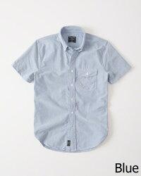 【新品】アバクロ【Mensメンズ】半袖ボタンダウンシャツ/Blue【ShortSleeveOxfordShirt】【Abercrombie&Fitch】【本物保証】