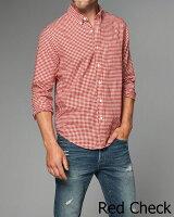 【新品】アバクロ【Mensメンズ】ヘリンボーンギンガムチェックシャツ(長袖)/RedCheck【GinghamHerringboneButton-UpShirt】【Abercrombie&Fitch】【ClassicShirts】【本物保証】【あす楽対応】