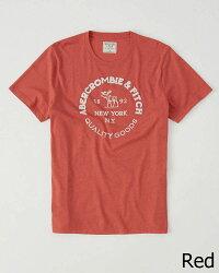 【新品】アバクロ【Mensメンズ】ロゴグラフィックTシャツ(半袖)/Red【LogoGraphicTee】【GraphicTees】【Abercrombie&Fitch】【本物保証】