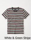 【新品】アバクロ【Mensメンズ】クルーネックボーダーTシャツ(半袖)/White andGreen Stripe【Striped Crew Tee】【Abercrombie&Fitch】【本物保証】