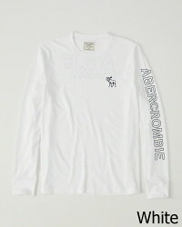 【新品】アバクロ【Mensメンズ】バックプリント付き長袖Tシャツ(ロンT)/White【Long-SleeveGraphicTee】【Abercrombie&Fitch】【本物保証】