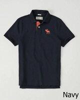 【新品】アバクロ【Mensメンズ】BigMoose刺繍ポロシャツ(半袖)/NavyBlue【IconPolo】【Abercrombie&Fitch】【本物保証】