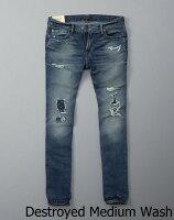 【新品】アバクロ【Mensメンズ】デストロイドスキニージーンズ/DestroyedMediumWash【Color:279】【SkinnyJeans】【デニム】【Abercrombie&Fitch】【本物保証】【あす楽対応】