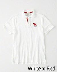 Abercrombie&Fitch(アバクロンビー&フィッチ)正規品ストレッチ鹿の子半袖ポロシャツ(StrechIconPolo)メンズ(White)新品