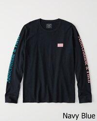 【新品】アバクロ【Mensメンズ】両袖+胸グラフィック長袖Tシャツ(ロンT)/Navy【LogoLong-SleeveTee】【Abercrombie&Fitch】【本物保証】