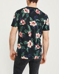 【新品】アバクロ【Mensメンズ】フローラル柄クルーネックTシャツ(半袖)/blackfloral【FloralPatternCrewTee】【GraphicTees】【Abercrombie&Fitch】【本物保証】