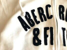 Abercrombie&Fitch(アバクロンビー&フィッチ)正規品アップリケフルジップパーカー(フーディー)(Full-ZipLogoHoodie)レディース(White)新品