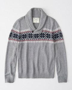 Abercrombie&Fitch (アバクロンビー&フィッチ) ショールカラー ノルディック セーター(ニット) (Shawl Collar Sweater) メンズ (Grey Pattern) 新品