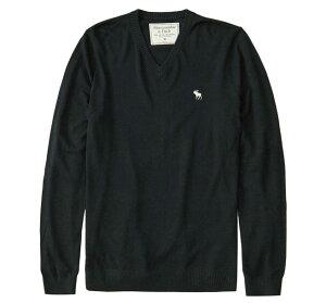 Abercrombie&Fitch (アバクロンビー&フィッチ) Vネックセーター (Icon V-Neck Sweater) メンズ (Black) 新品