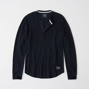Abercrombie&Fitch 正規品 (アバクロンビー&フィッチ) ワッフル ヘンリーネック Tシャツ (長袖) (ロンT) (Waffle Henley) メンズ (Navy Blue) 新品