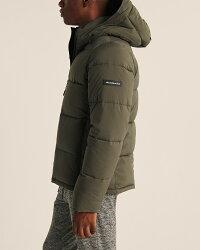Abercrombie&Fitch(アバクロンビー&フィッチ)ウルトラストレッチロゴダウンジャケット(UltraStretchLogoPuffer)メンズ(長袖)(OliveGreen)新品
