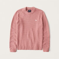 Abercrombie&Fitch(アバクロンビー&フィッチ)ステッチムース刺繍クルーネックセーター(ニット)(StitchIconCrewSweater)メンズ(Pink)新品