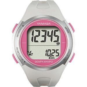 山佐時計計器(YAMASA)_電波時計内蔵腕時計型_ウォッチ万歩計_DEMPA_MANPO<ホワイト×ピンク>_TM-500