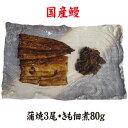 手焼き 国産鰻蒲焼3尾・肝佃煮80g 送料無料