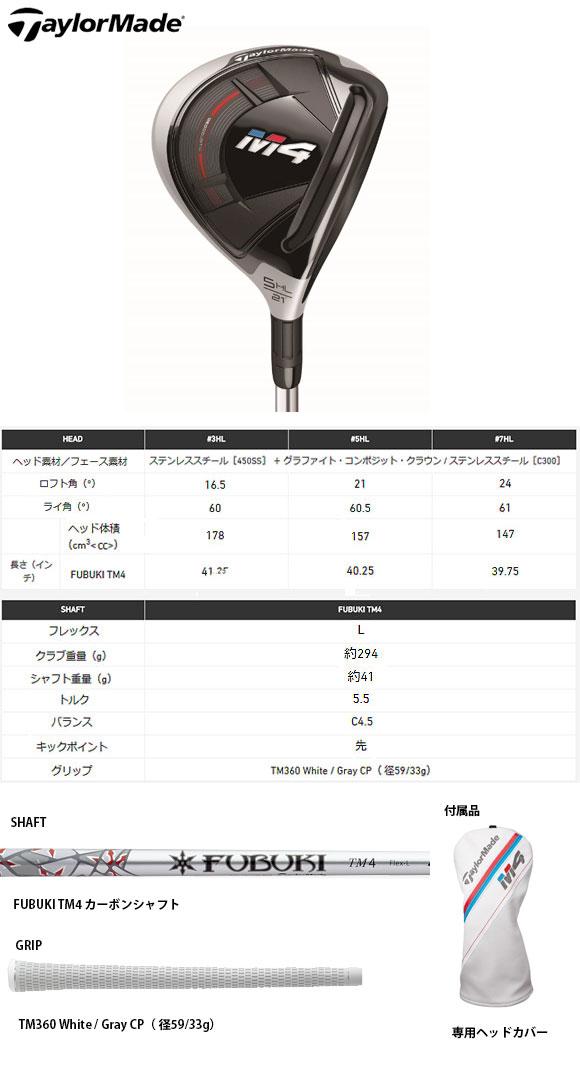 テーラーメイド2018M4ウィメンズフェアウェイウッド日本仕様FUBUKITM4カーボンシャフト[TaylormadeエムフォーFairwaywoodレディース女性ゴルフ]