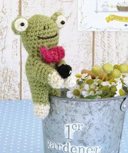 足が開いてクリップに♪編み物キット・かえるのクリップ【RCP】