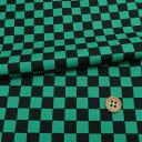 コットン生地 市松柄1.4cm角(黒/緑)【RCP】