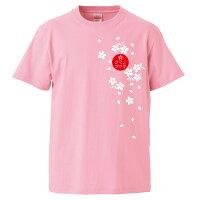 くまのざくらTシャツピンク前面