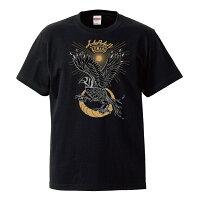 やたがらす(八咫烏)スカジャン風Tシャツ半袖ブラック前側