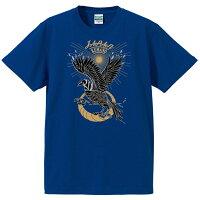 やたがらす(八咫烏)スカジャン風Tシャツ半袖Jブルー前側