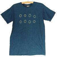 紀州熊野番茶染めコーマ糸国産Tシャツ半袖御浜小石絞り柄銅媒染×藍染め