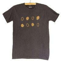 紀州熊野番茶染めコーマ糸国産Tシャツ半袖御浜小石絞り柄銅媒染×ログウッド