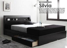 引き出し付き収納付きベッド収納付きベット収納付きベッドSilviaシルビアポケットコイルマットレス付シングル
