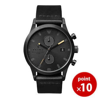 Thoria TRIWA men Lady's combined use watch LANSEN CHRONO chronograph SORT of BLACK LCST105-CL010113 black leather belt