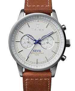 トリワTRIWAメンズ・レディース兼用腕時計クロノグラフSTEELNEVILIVORYNEST112-SC010215ホワイト×シルバー×ブラウンレザーベルト正規品送料無料|腕時計おしゃれ革レザーカジュアルお洒落